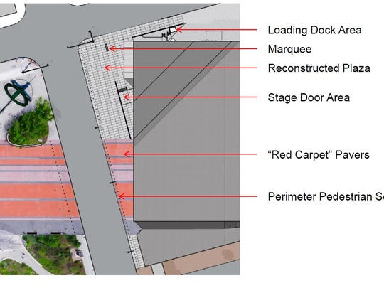 """The """"red carpet"""" pavers from Cowles Commons will be extended to the main entrance at the Des Moines Civic Center."""