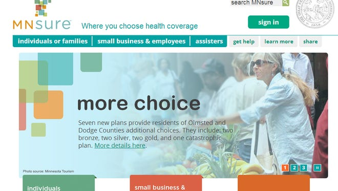 A screen shot of the Minnesota health insurance exchange website.