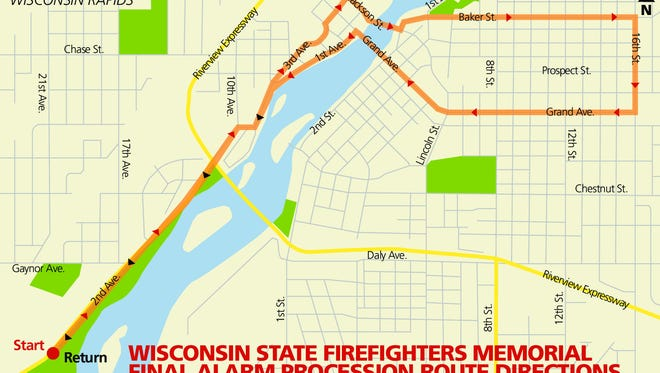 Wisconsin State Firefighters Memorial Final Alarm Procession route map.