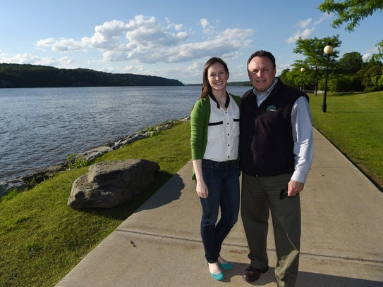 Erin Hoagland with her dad Glenn, pictured on the Hudson