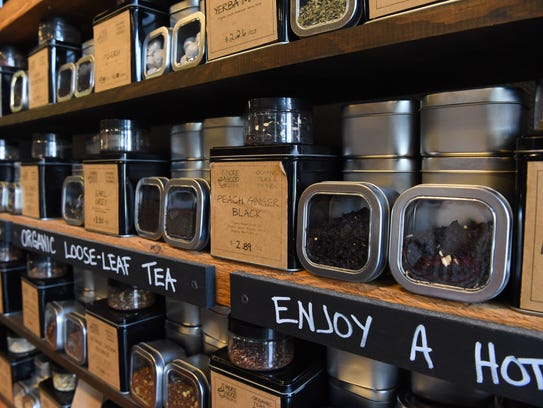 A view of More Good's loose leaf tea in their store