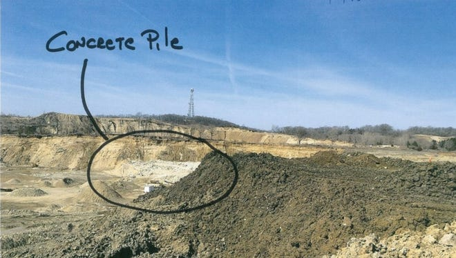 Ashley Land Development Co, Inc. operates a gravel mining operation in Brighton Township. Township officials voted to revoke the company's permits Monday, July 16, 2018, over concerns related to a pile of concrete on the Muir Road property. This photograph was included in the township's agenda packet for the meeting.