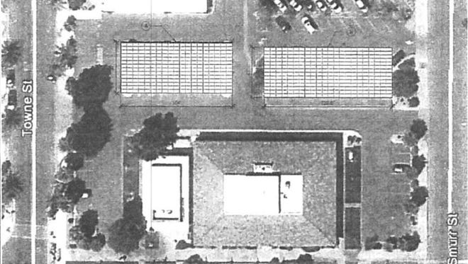 A proposed layout for solar panels Indio City Council approved to be installed outside City Hall.