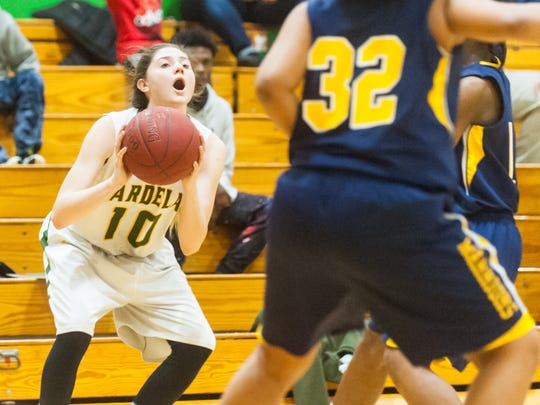 Mardela guard Taylor Ross (10) takes a shot against