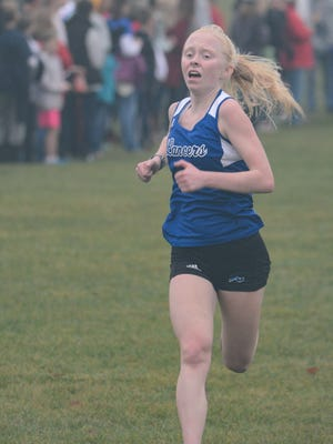 Brookfield Central's Abby Mauermann, shown here at the Greater Metro Conference meet Oct. 14, won a sectional title Saturday at Grant Park.