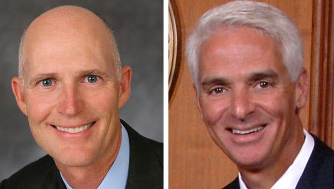 Rick Scott, left / Charlie Crist, right