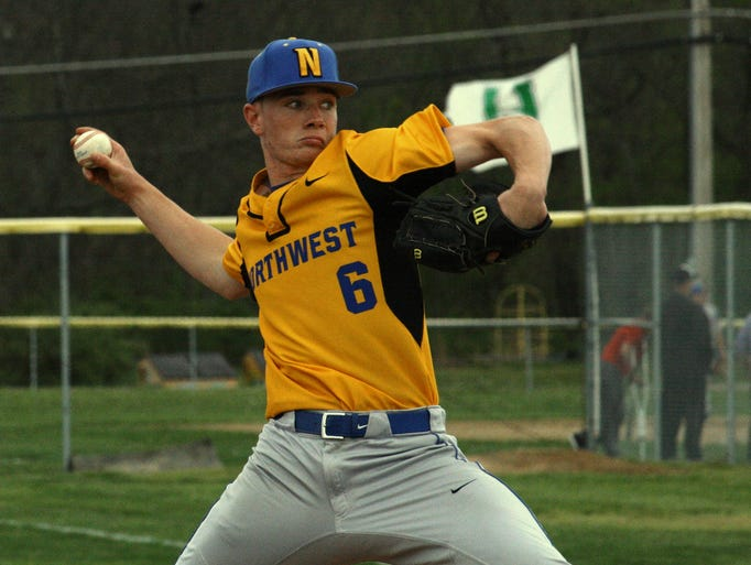 Northwest High School senior pitcher Danny Hentz hurls a pitch to the plate during Northwest's 11-5 win over Harrison High School April 30 at Harrison. Hentz - a University of Dayton commit -  tossed five innings, allowed just one earned run to pickup the win.
