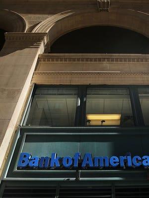 File photo taken in April 2014 shows the sign at a Bank of America branch in New York City.