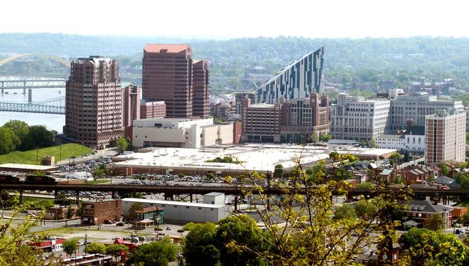 View of Covington skyline from Devou Park overlook.