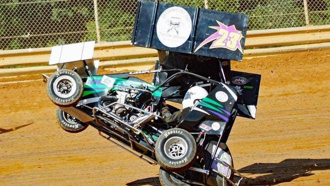 Brad Brown is nearly airborne as he tries to save his 600cc sprint car from a wreck during the Labor Day Shootout at Lanco Speedway on Saturday.