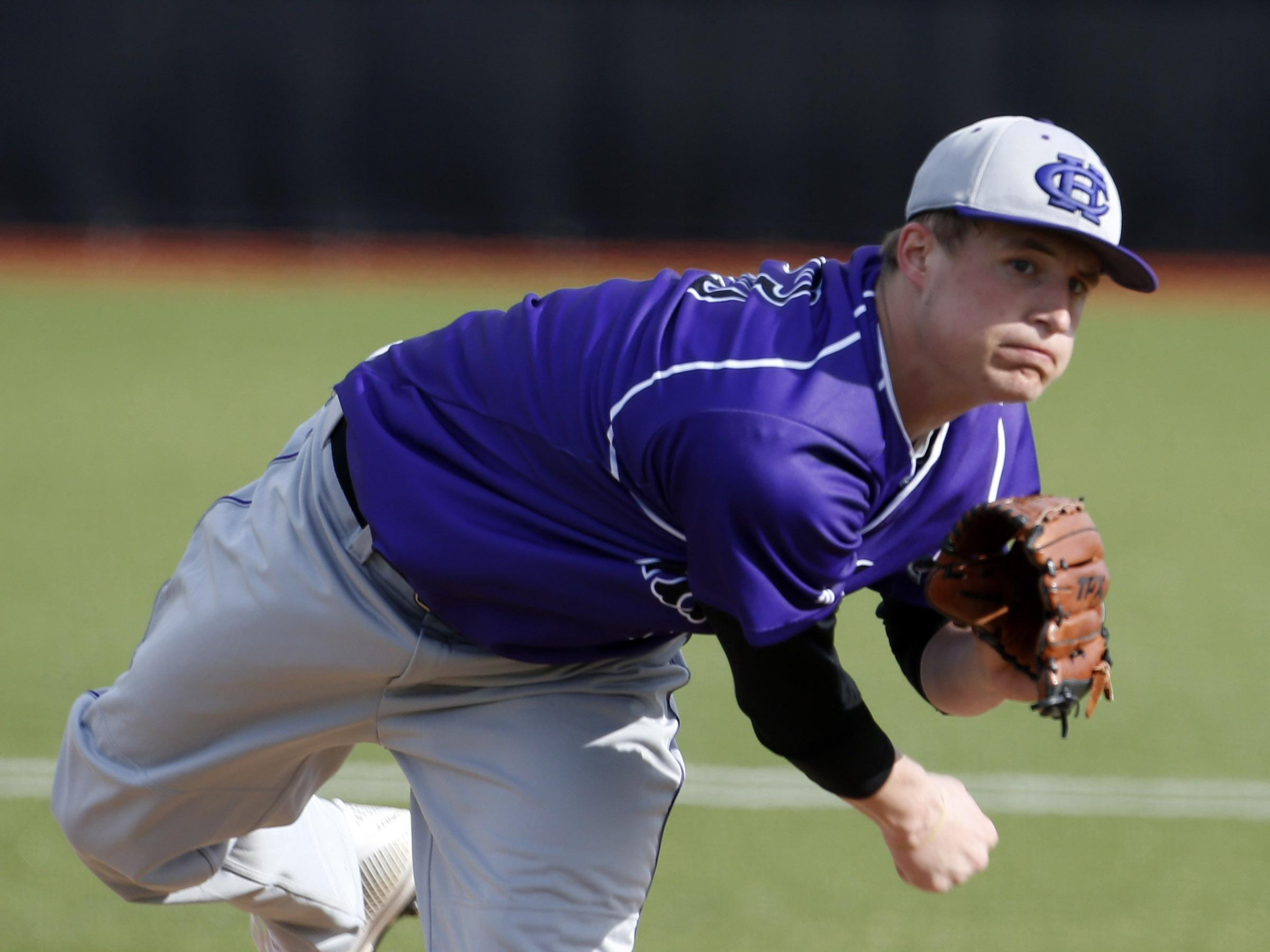 Cameron Varga, shown here during his time at CHCA, is 1-1 with a 2.25 ERA for the Hudson Valley Renegades.