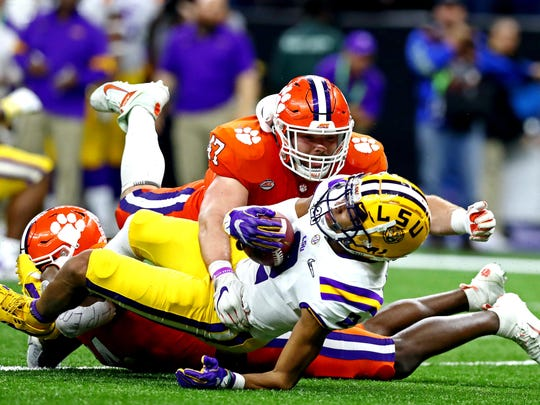 Jan 13, 2020; New Orleans, Louisiana, USA; Clemson Tigers linebacker James Skalski (47) called for targeting on LSU Tigers wide receiver Justin Jefferson (2) during the third quarter in the College Football Playoff national championship game at Mercedes-Benz Superdome. Mandatory Credit: Matthew Emmons-USA TODAY Sports ORG XMIT: USATSI-406517 ORIG FILE ID:  20200113_pjc_se2_379.JPG