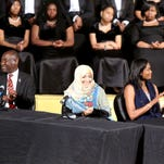 Freedom award winners Benjamin Crump, Tawakkol Karman, Swin Cash and Hon. William Winter participate in a panel discussion during the National Civil Rights Museum Student Forum.