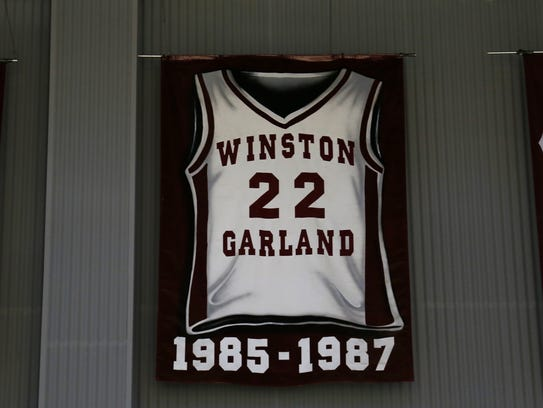 Winston Garland's number hangs from the rafters in