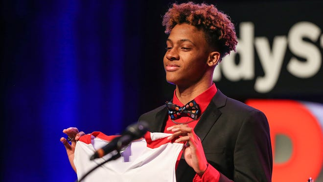 Romeo Langford, of New Albany High School, accepts the IndyStar Mr. Basketball award at the Indiana High School Sports Awards at Butler's Clowes Memorial Hall on Sunday, April 29, 2018.