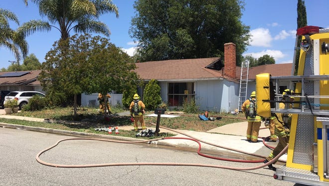 Firefighters with the Ventura County Fire Department responded to a structure fire Wednesday afternoon in Thousand Oaks.