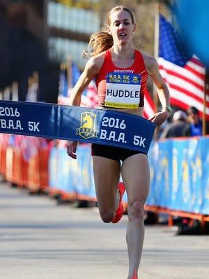 Molly Huddle runs to a win in the 2016 B.A.A. 5k on Saturday in Boston.