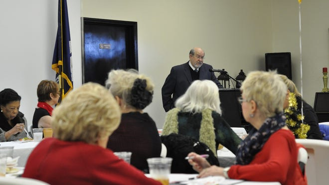 Dr. Robert Freedman, a local cardiologist, speaks to the Central Louisiana Democratic Women's group about heart health Wednesday.
