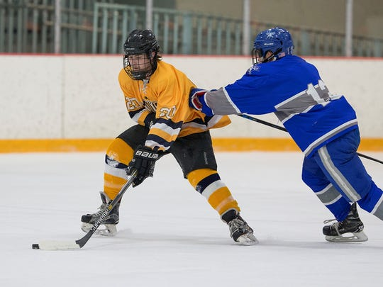 Schoolcraft College's Owen Hund (20), of Garden City, tries to maintain control of the puck against Josh Denomie (12) of Lawrence Tech.