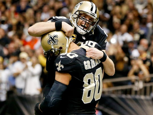 New Orleans Saints quarterback Drew Brees and tight end Jimmy Graham