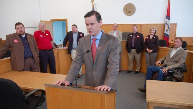 Scott Flippo speaks during a press conference at the Baxter County Courthouse Thursday. Flippo and his political supporters spoke out against the private option during the press conference. Flippo, is in a runoff with Rep. John Burris of Harrison for the District 17 Senate seat.