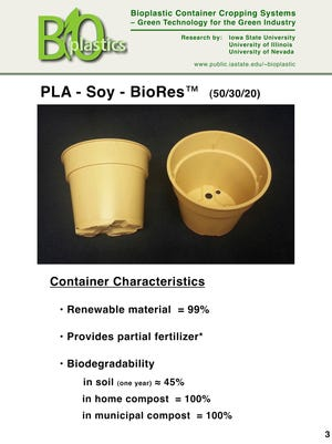 Bioplastic plant pots made from soy protein provide a natural source of nitrogen fertilizer to plants as they grow.