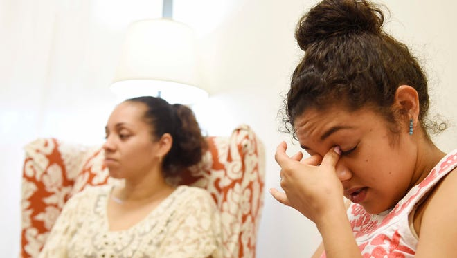 Mother Zully Vargas and her daughter Zacnite Vargas discuss their emotions Thursday after the Supreme Court's immigration ruling at the Tennessee Immigrant & Refugee Rights Coalition offices at Casa Azafran in Nashville.