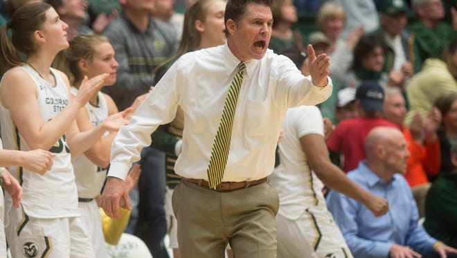 CSU women's basketball coach Ryun Williams, shown in a game earlier this season, passed Tom Collen for most wins in program history when the Rams won at Wyoming on Wednesday night.
