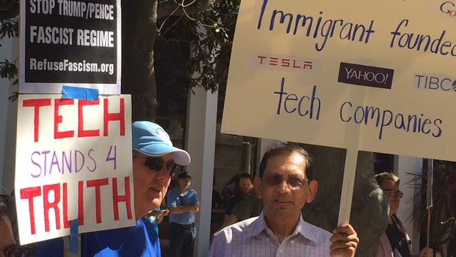 Protesters at a Pi Day rally in Palo Alto, Calif. which encouraged tech workers to become politically active.