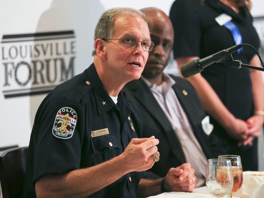 LMPD Chief Steve Conrad speaks about the prevalence of gun violence during a Louisville Forum discussion on the city's surging of violent crime.