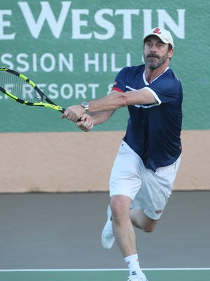 Actor Jon Hamm during the 2017 Desert Smash charity celebrity tennis event at Westin Mission Hills Golf Resort and Spa on March 7, 2017.