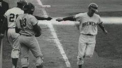 Brewers pitcher Skip Lockwood, a converted infielder,