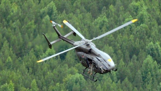 An Alabama National Guard UH 72 like this one is heading to Arizona.