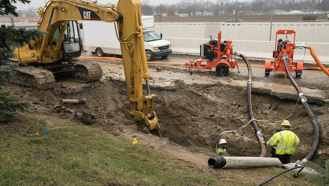 The Great Lakes Water Authority repairs the broken 48 inch water main.