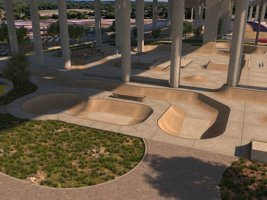 Renderings from Upward Intuition show what the planned skate park designed by Spohn Ranch Skateparks in downtown Pensacola could look like.