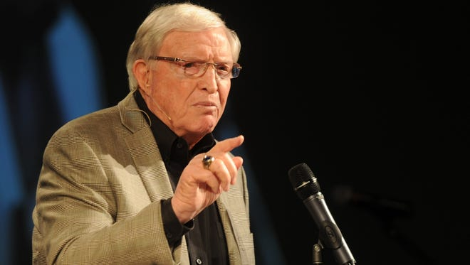 Former Baylor football coach Grant Teaff talks at the PlayMaker event on Saturday, Jan. 21, 2017 at New Hope Church. Teaff, a Snyder graduate, also coached at McMurry (1960-65) and Angelo State (1969-71).
