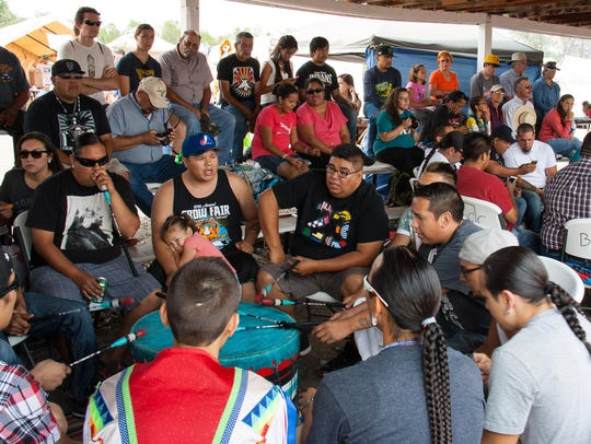 The Crow Fair powwow attracts drummers and singers