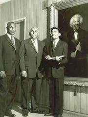 Fisk University leaders standing in front of the newly