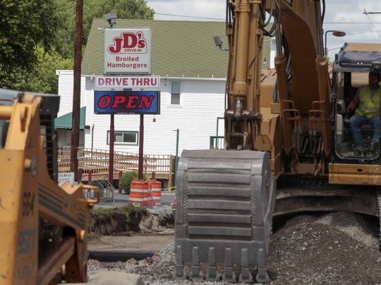 Construction along John St. in front of JD's Drive-In.