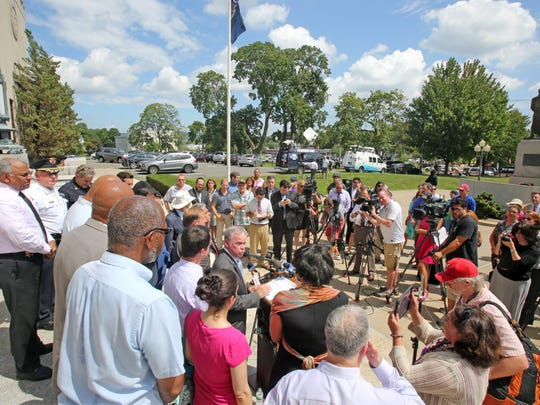 Rockland County executive Ed Day speaks during a rally against hate in New City Thursday, Aug. 11, 2016, following incidents in which incendiary devices were set off  in front of two rabbis' homes in Clarkstown.