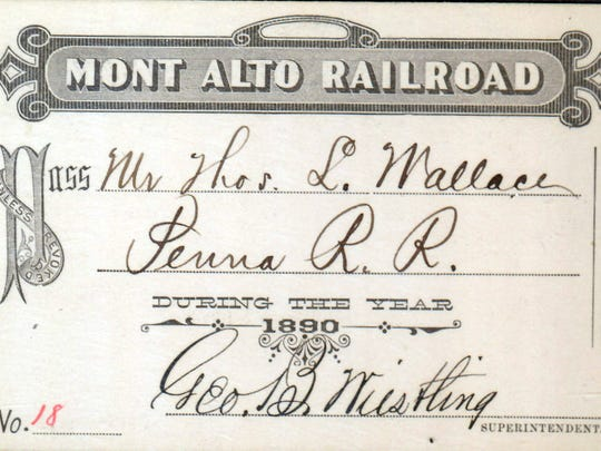 A Mont Alto Railroad pass from 1890, signed by George B. Wiestling.