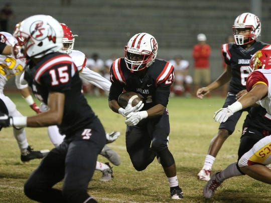 Palm Springs' hosted Palm Desert for their varsity football game on homecoming night in Palm Springs on Friday, October 13, 2017.