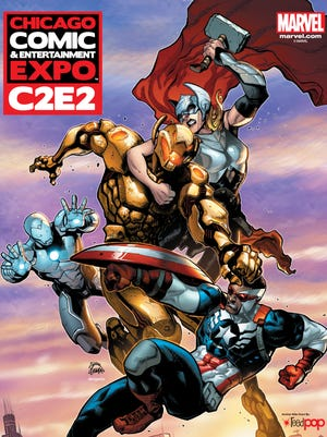Ultron battles a redesigned Thor, Captain America and Iron Man on Ryan Stegman's official C2E2 poster.