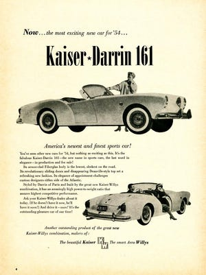Initial advertising for the Kaiser Darrin promoted its fiberglass body and modern features like sliding doors and special Landau convertible top.
