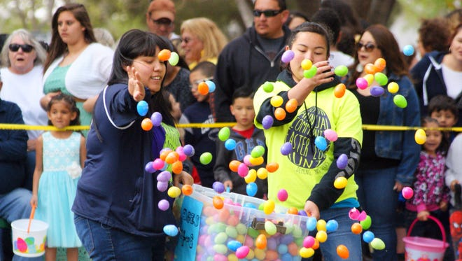 Volunteers will spread over 30,000 plastic eggs on Saturday during the Community-Wide Easter Egg Hunt at Luna County Courthouse Park. The event is open to the public and sponsored by First Assembly of God Church, Deming Fire Department, Luna County Sheriff's Office, Deming Police Department and a host of businesses and private donors.