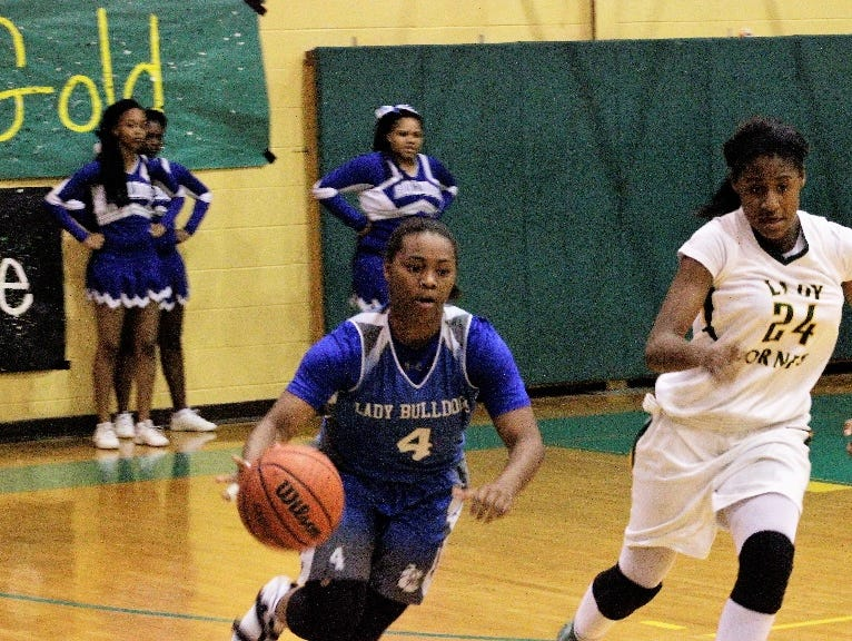 Red River's Morgyn Payne heads up the court against Rayville Thursday night.