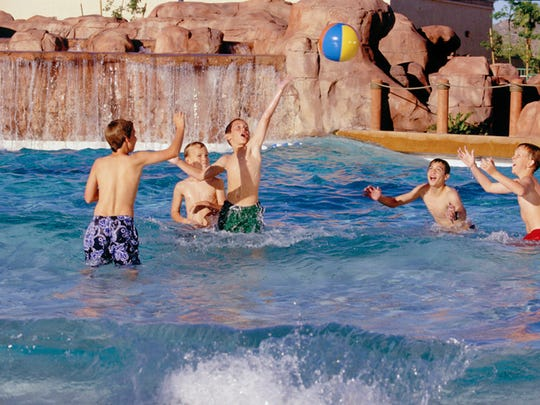 The wave pool can host many activities, such as water sports and freestyle swimming.