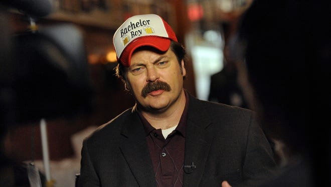 "Nick Offerman portrays Ron Swanson during a ""Parks and Recreation"" visit to St Elmo Steak House in 2012."