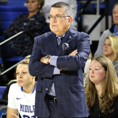 Coach Rick Insell and his MTSU women's basketball team