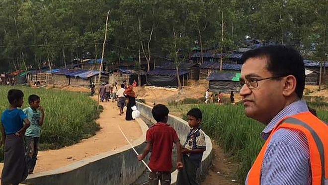 Dr. Ruhul Abid of Rhode Island Hospital's cardiothoracic research team at a makeshift refugee camp in the southeastern coastal region of Bangladesh.